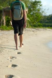 Man walking on a beach